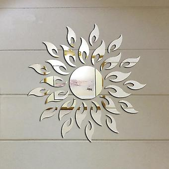 3d Sunshine Sun Flower Décoratif Diy Amovible Wall Mirror Sticker