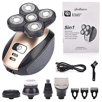 5 In 1 Men's Rechargeable Bald Head Electric Shaver Floating Heads Beard Nose Ear Hair Trimmer Razor Clipper