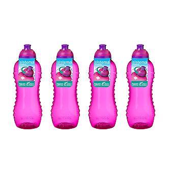 Sistema Twist 'n' Sip Bottles 460ml Pink, Set of 4