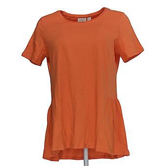 LOGO by Lori Goldstein Women's Top Knit Top w/ Seam Details Orange A344399