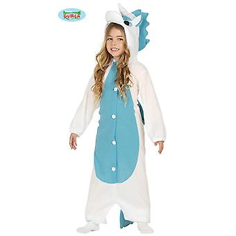 Guirca Einhorn Kostüm Weiß-Blau für Kinder Fabelwesen Overall