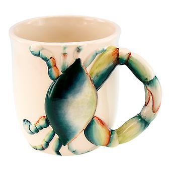 سرطان البحر الأزرق الساحلية مع مخلب مقبض القدح السيراميك البن آتية الشاي