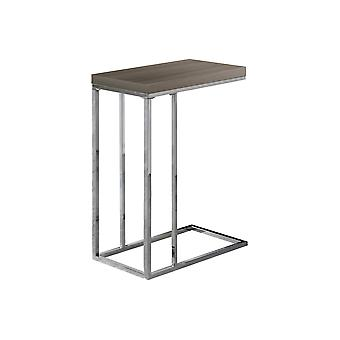 DARK TAUPE RECLAIMED-LOOK / CHROME METAL ACCENT TABLE