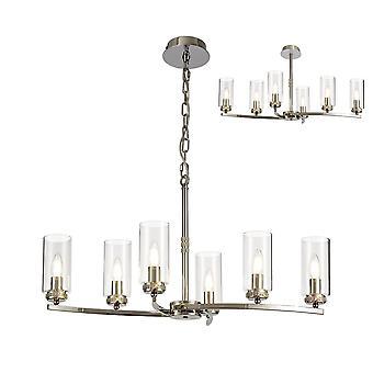 Luminosa Belysning - Loftsvedhæng, Semi Loft, 6 x E14, poleret nikkel