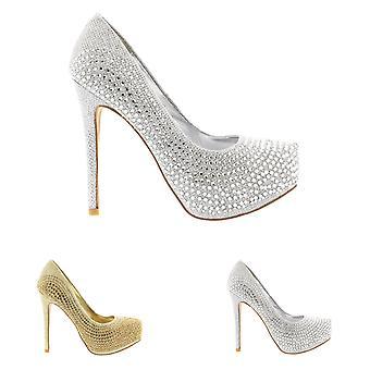 Womens Stiletto Diamante Party Evening High Heel Platforms Court Shoes UK 3-10