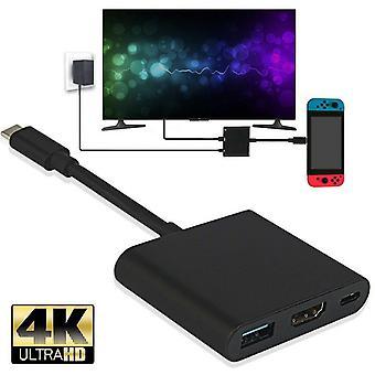 4K محول Hdmi للتبديل، نوع C USB إلى كابل هادمي محول قفص الاتهام (أسود)