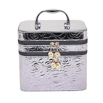 Homemiyn Dazzling Makeup Bag With Handle And Buildin Mirror