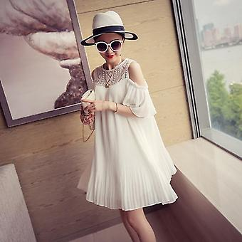 Summer Maternity Shirts Lace Patchwork Chiffon Pregnant Women Off Shoulder Long Loose Pleated Blouses