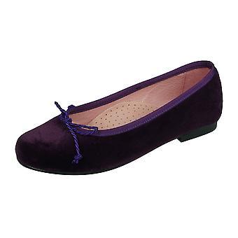 Angela Brown Olivia Girls Velvet Ballerina Shoes Pumps - Purple