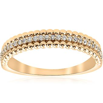 14K Geel 1/6 CTW Diamond Beaded Wedding Ring