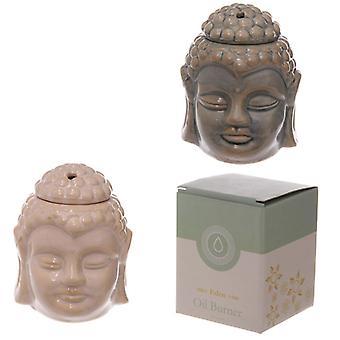Ceramic Buddha Head Design Crackle Glazed Oil Burner (1 Random Supplied)