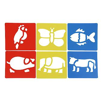 6 Pcs Animal Template Stencils Child Painting Scrapbooking Stamps Album