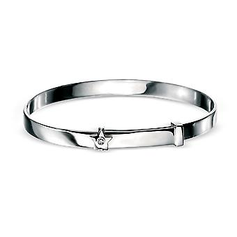 D for Diamond Children's Engravable 925 Sterling Silver, Rhodium Plated, Diamond Star Christening Bangle, Naming Engraved for Baby Boy, Girl, Kids and Child Jewellery