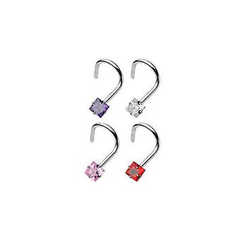 Nose screw with 3mm prong set square gem 20g