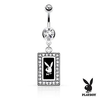 Nabel Ring mit Playboy Hase quadratischen Rahmen mit gepflasterten Edelsteinen baumeln 14g