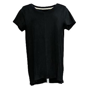 Isaac Mizrahi Live! Women's Top Short Sleeve V Neck Black A289636