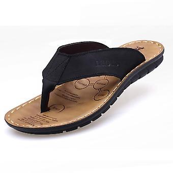 Echte Lederen Beach Slippers, Heren's Flip Flop Summer Sandals