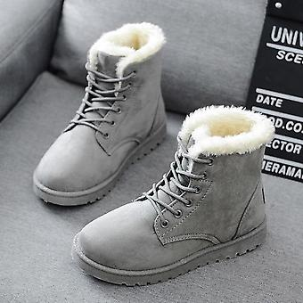 Women Boots Faux Suede Snow Ankle Warm Fur Booties Solid Winter Leather Shoes