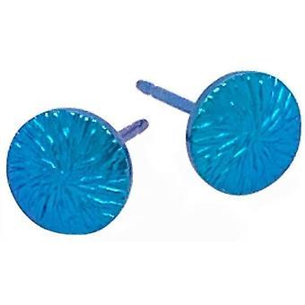 Ti2 Titanium Fine Textured 6mm Round Stud Earrings - Aqua Blue