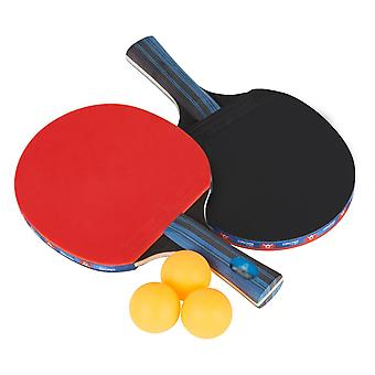Tafeltennis Bat Set: Pingpong Paddle met 2 vleermuizen en 3 ballen