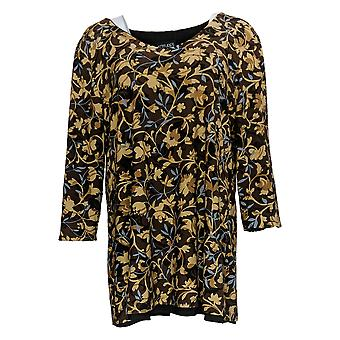 Attitudes by Renee Women's Top Reversibles Tunic Brown/Black A366216
