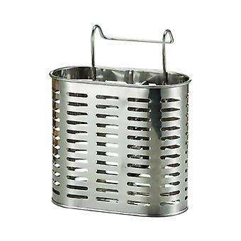 Stainless Steel Utensil Drying Rack 2 Compartments with Hooks Sliver