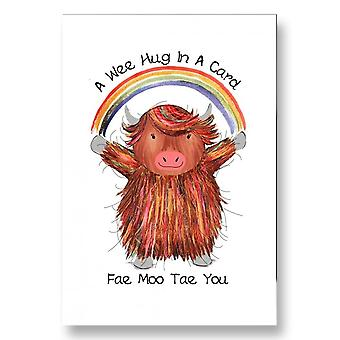 Embroidered Originals A Wee Hug In A Card Fae Moo Tae You Highland Cow Card Jb15