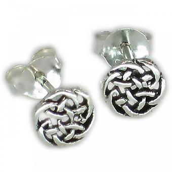 Orecchini celtici rotondi in argento sterling .925 X 1 Coppia Borchie