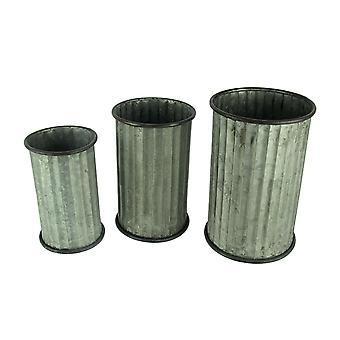 Rustic Farmhouse Classic Column Cylinder Planter Set of 3
