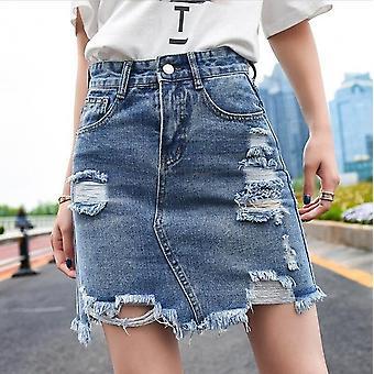 Γυναίκες Καλοκαίρι Στερεά Υψηλή Μέση Μολύβι Denim Φούστες, Τσέπες Κουμπί Όλα-συμφωνημένα