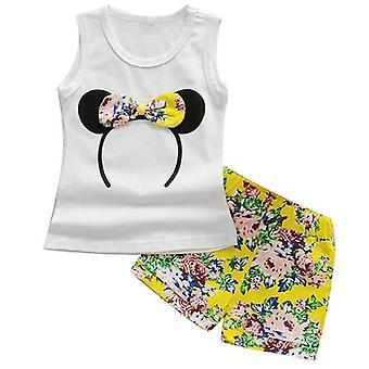 Chicas verano Minnie chaleco top y pantalones cortos Bowtie