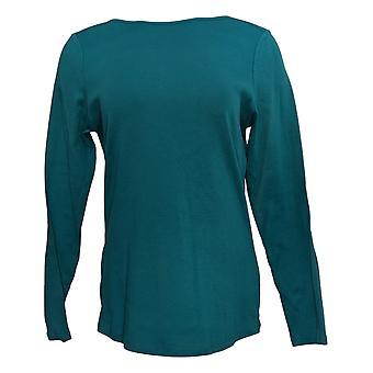 Denim & Co. Women's Top Essentials Modern Fit Long-Slv Knit Green A342526