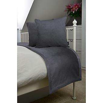 Matt charcoal grey velvet bedding set