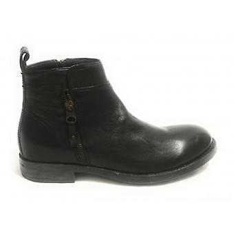 Biker Ankle Boot Man Ancient Cuoieria Mod. Oyster Black Leather U19ac10