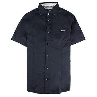 Armani Jeans Aj Logo Ricamato S/s Camicia Navy