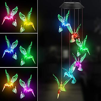Wind Chime Fohil Solar Hummingbirds Wind Chimes Outdoor/Indoor Decor Yard Decorations