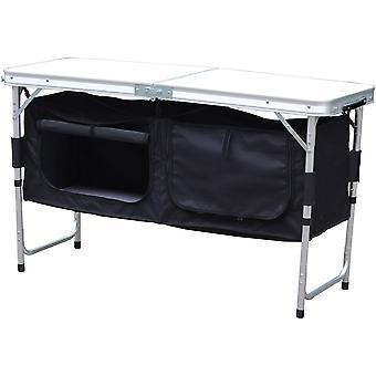 Kempingový skladací stôl 120x60x70x54cm + skriňa 33x30x36cm - 2 v 1