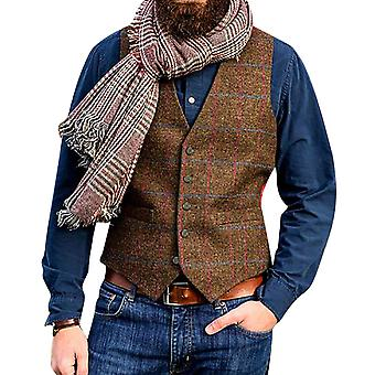 Allthemen Men's Single-breasted Regular Fit Casual Check Vest