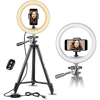 """10"""" Selfie Ring Light With 51"""" Extendable Tripod Stand And Phone Holder For Live Stream/makeup"""