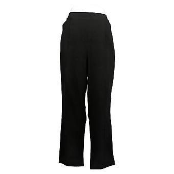 Susan Graver Women's Petite Pants Cotton Spandex Slim Black A384274
