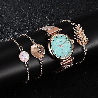 Luxury Magnet Buckle Flower Watch Bracelet Set