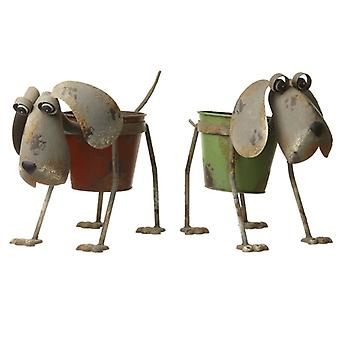 Metal Dog Plant Pot Red/Green By Heaven Sends (One Random Supplied)