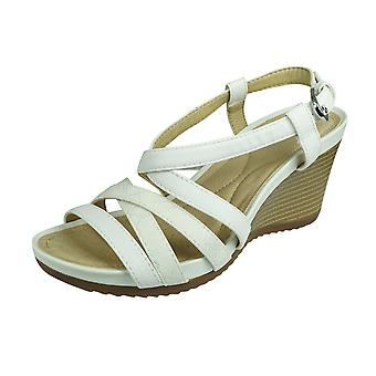 Geox D New Rorie A Womens Wedge Sandals - White