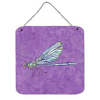 Caroline's Treasures Dragonfly su parete in metallo alluminio viola o stampe appese alla porta, 6 x 6, multicolore