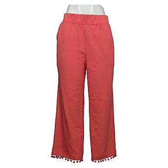 Belle by Kim Gravel Women's Pants French Terry Cropped Orange A351258