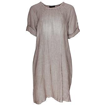 Latte Lightweight Short Sleeve Linen Dress