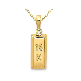 14K Yellow Gold 3D Gold Bar Charm Pendant Necklace with Chain
