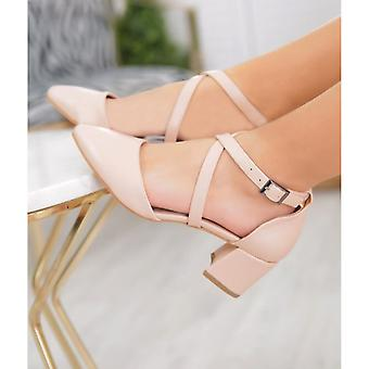 Ten Cross-Strap Shoes Heeled Leather MA-035