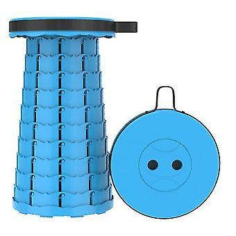 Sea blue outdoor folding telescopic stool, portable plastic stool for camping and fishing az16311