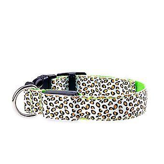 S 34-41cm النمر الأخضر أدى قابل للتعديل، ليلا سلامة النايلون مضيئة الكلب الحيوانات الأليفة طوق az3729
